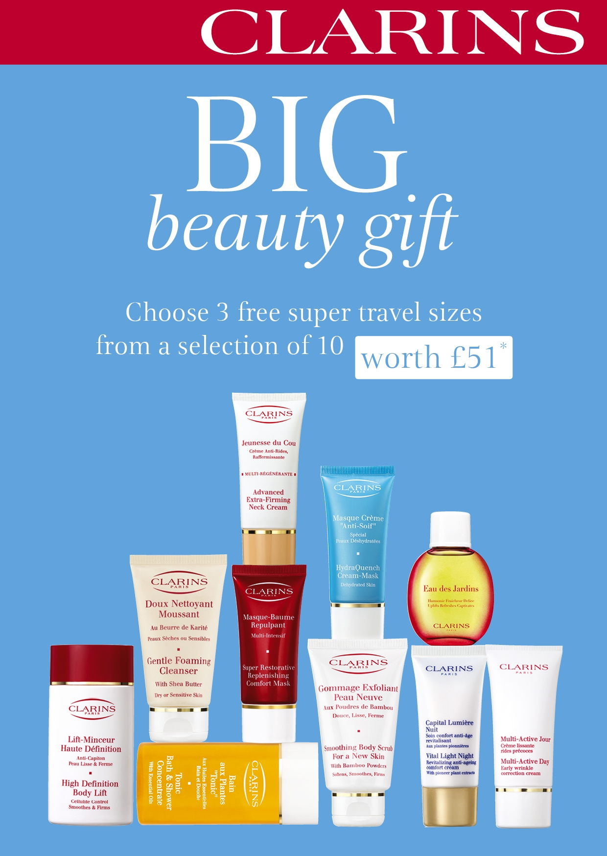 One gift per customer. To enjoy this offer, spend $ or more on Clarins products, then enter the promo code CRACKERS Gift will be added to your shopping bag once you applied the promo code. Not available in conjunction with any other offer or gift set. No cash redemption possible.