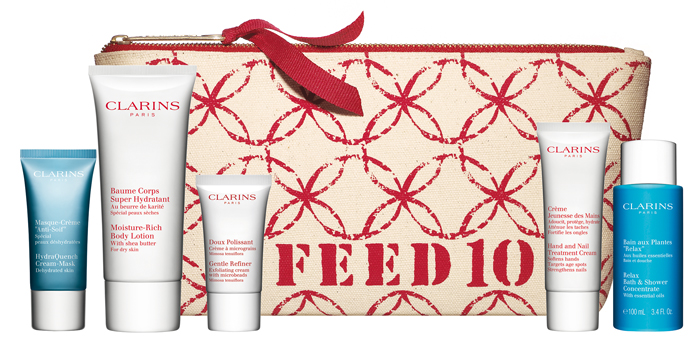 FEED charity + Clarins beauty gift